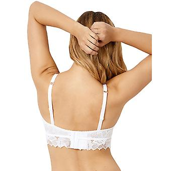 Sans Complexe 90A564 Women's Arum White Floral Lace Underwired Longline Bra