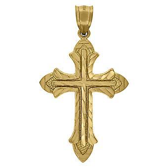 10kゴールドDcメンズクロス高さ48.5ミリメートルX幅26.8ミリメートル宗教的な魅力ペンダントネックレスネックレスの男性のためのギフト