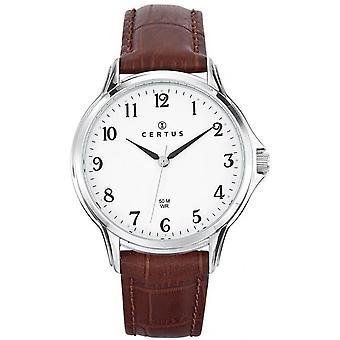 Horloge Certus 610882-zilver stalen armband leer bruin mannen
