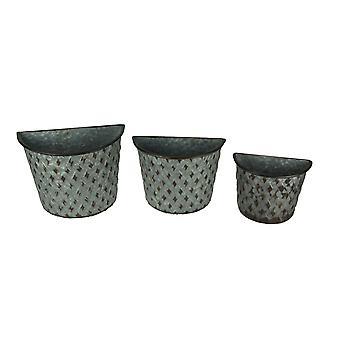 Sett med 3 galvanisert metall veggmontert gårdshus kurv plantasjeeiere