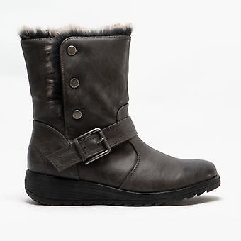 Cipriata Coralla Ladies Fur Collar Ankle Boots Grey