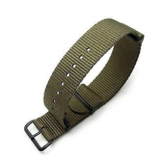 Strapcode n.a.t.o klokke stropp miltat 22mm g10 militær klokke stropp ballistisk nylon armbånd, pvd svart - militær grønn