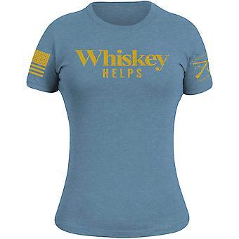Grunt Style Women's Whiskey Helps T-Shirt - Heather Slate