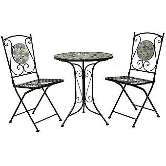Charles Bentley 3 Stück Schmiedeeisen Mosaik Bistro Set Tisch und 2 Stühle