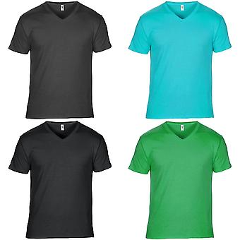 Anvil Mens kort ärm Featherweight V-Neck T-Shirt