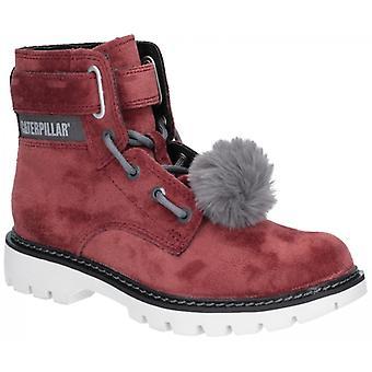 CAT Lifestyle Conversion Velvet Ladies Ankle Boots Burgundy