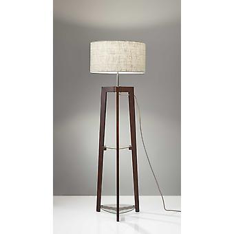 Walnut Wood Finish Floor Lamp with Glass Shelves