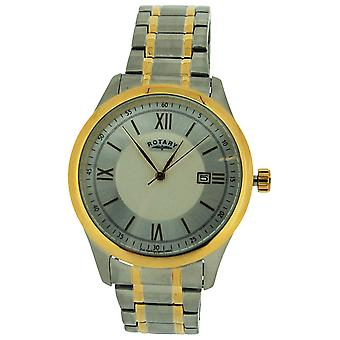 Rotary Gents Date Silver Textured Dial Two Tone Stainless Steel Watch GB72836/06