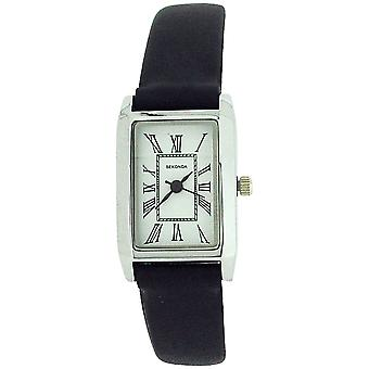 Sekonda Ladies Analogue Roman Numerals White Dial Black Leather Strap Watch 4025