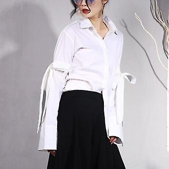 Turn-down Collar Bow  Blouse