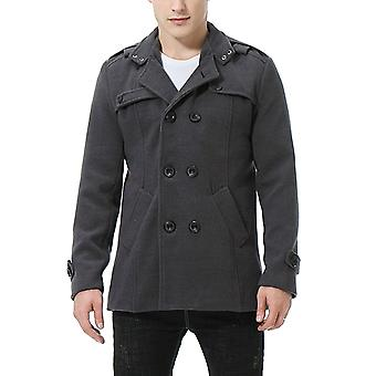 Cloudstyle Mens Pea Coat Woollen Double-Breasted Slim Fit Trenchcoat