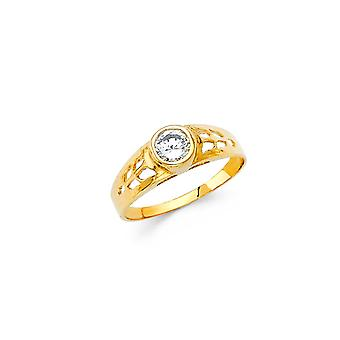 14k Yellow Gold Boys and Girls April Birthday Ring Size 3 - .7 Grams