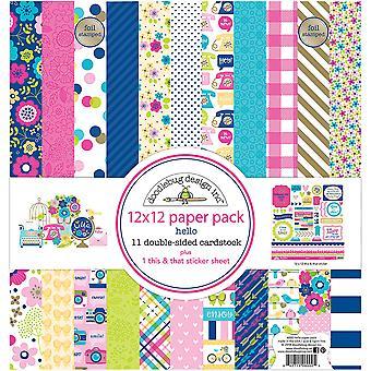 Doodlebug Design Hello 12x12 Inch Paper Pack