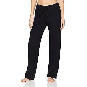 Marke - Mae Women's Loungewear Open Leg Pyjama Hose, Schwarz, S