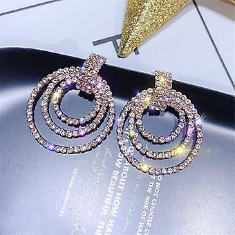 Gold Crystal Triple Hoop Drop Earrings