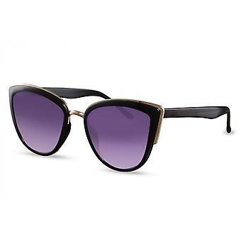 النظارات الشمسية المرأة فراشة كامل الحافة القط. 3 أسود / ذهبي