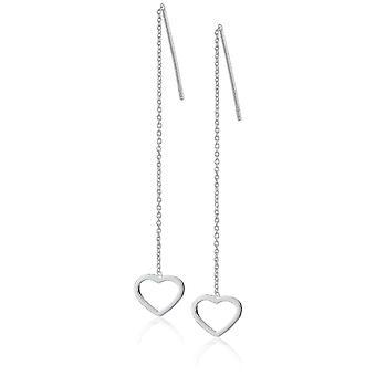Sterling Silver Open Heart Threader Drop Earrings, silver, Size No Size