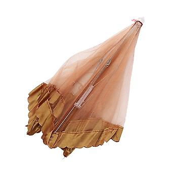 Lace Foldable Food Cover Tent Mesh Cover 50x50x30cm Brown