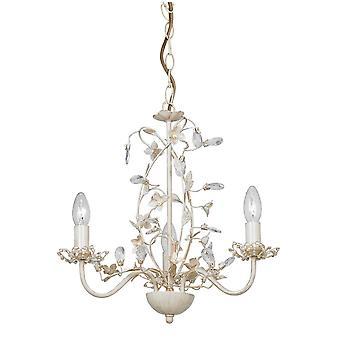 3 Lumière Multi Arm Plafond Pendentif Fleur Design Crème Brossé Or, Pearl Effect Acrylique, E14