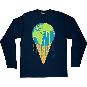 Earth is Melting Navy Blue Long-Sleeved T-Shirt