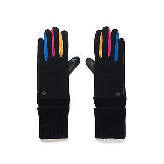 Desigual Fun Gloves 20WAAK03 Black & Bright with  Faux Leather Palms