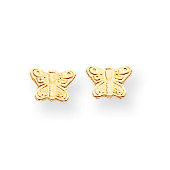 14k Yellow Gold Open back Post Earrings Polished Butterfly Angel Wings Screw back Earrings Measures 4x6mm Jewelry Gifts