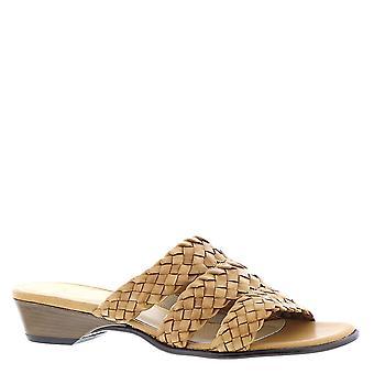 David Tate Womens Adagio Leather Open Toe Casual Slide Sandals