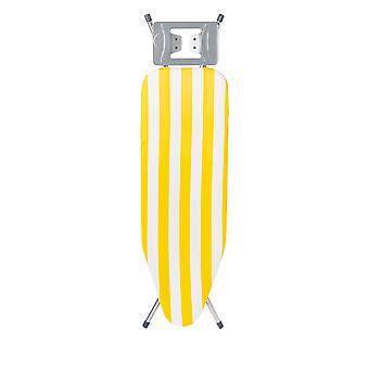 Granit Blanca Planche à repasser en métal avec couvercle | Hauteur réglable 71-91cm | Plan de travail mesh 120 x 38cm | Bande jaune