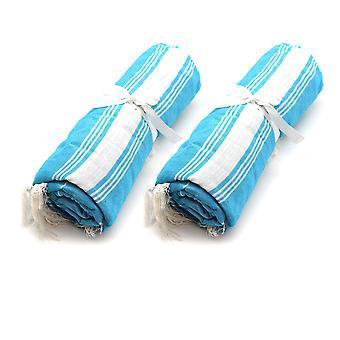 Nicola Frühling Runde 100 % türkische Baumwolle Handtuch Set   Strandbad - Hellblau - Packung mit 2