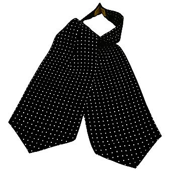 Ties Planet Gold Label Black & White Polka Dot Printed Silk Casual Cravat