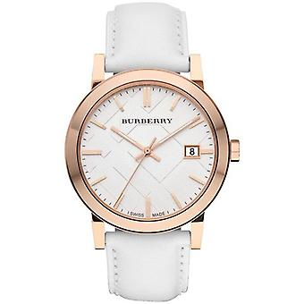 Burberry BU9012 Large Check White Leather Strap Men's Watch