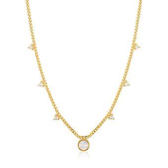 Ania Haie rejtett gem shiny arany gyöngyház csepp lemez nyaklánc n022-03g