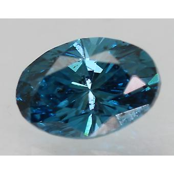 Cert 0,29 Ct Vivid Blau VS1 Oval enhanced natürliche lose Diamant 4.88x3.41mm 2VG