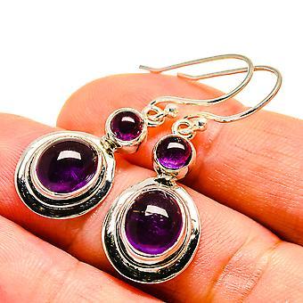 """Amethyst Earrings 1 1/2"""" (925 Sterling Silver)  - Handmade Boho Vintage Jewelry EARR407535"""