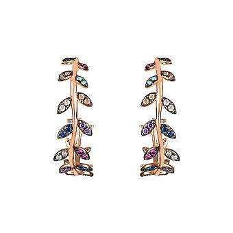Pink Multicoloured Rainbow Laurel Leaf CZ Gemstone Gift Rose Gold Hoop Boucles d'oreilles