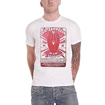 Led Zeppelin T Shirt Mobile Municipal Band Logo new Official Mens White
