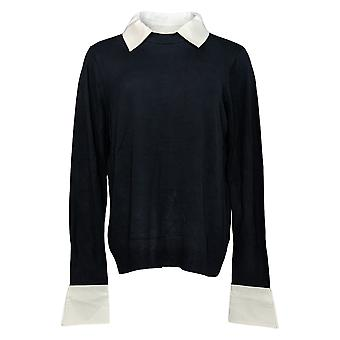 Laurie Felt Women's Sweater Layered Collars And Cuffs Blue A384017