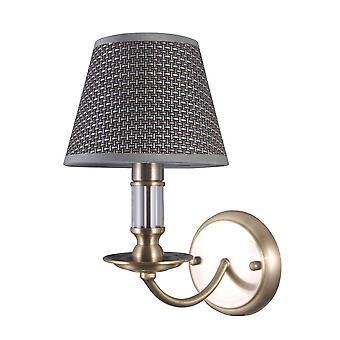 Clássico Wall Lamp Antigo Bronze 1 Claro com Sombra Cinza, E14