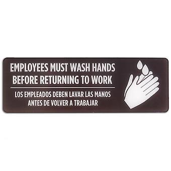 Zweisprachige spanische/englische Mitarbeiter müssen Hände zeichen waschen