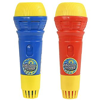 Hti toys & games groovy tunes pack of 2 echo microphones red & blue | great singing toy prop mic for
