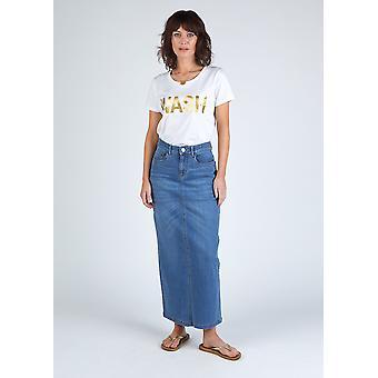 Ophelia organic denim maxi skirt - stonewash