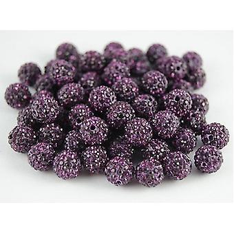 10 Pcs Wholesale 10mm Purple Shamballa Crystal Pave Clay Disco Ball/beads Czech