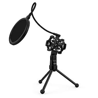 Ammoon microphone stand mini desktop microphone tripod stand with shock mount mic holder pop filter