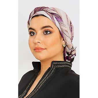 Women's lätta satinhuvudsduk i lila färgtryck