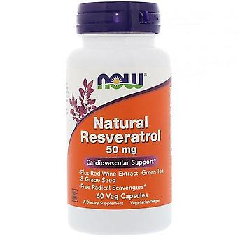 Ahora alimentos, Resveratrol natural, 50 mg, 60 cápsulas de verduras