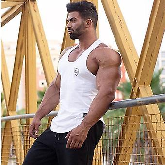 Mens Tank Tops shirt, سترة ملابس لياقة بدنية صالة ألعاب رياضية, بلا أكمام, قطن