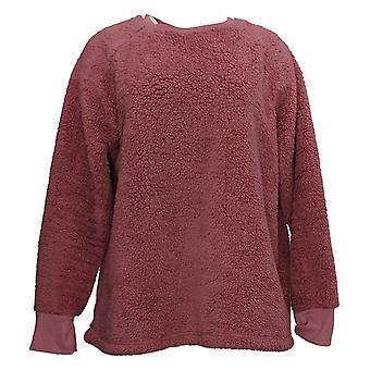 Cuddl Duds Femmes&s Plus Shaggy Sherpa Pullover Top Pink A381801