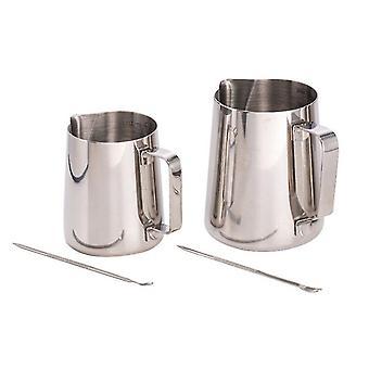 304 غير القابل للصدأ كأس الفولاذ مع مقياس، إبرة-أنع قاربر اسطوانة الحليب صانع القهوة فنجان الحليب