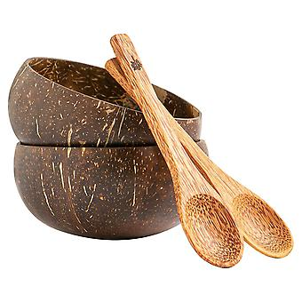 4 Piece Natural Polished Coconut Bowl & Spoon Set Eco Friendly Acai Buddha Bowls Brown