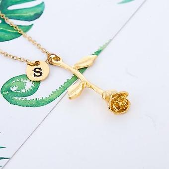 Alphabet Disc Letters Chain Beauty And The Beast Rose Necklace